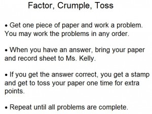 Factor, Crumple, Toss Directions